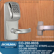 Exit Trim with Magnetic Stripe Swipe & Keypad Locks | Schlage CO-250-993S - Exit Surface Vertical Rod | User Rights on Card