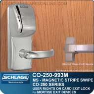 Exit Mortise Lock Schlage CO-250-993M-MS | Exit Trim with Magnetic Stripe Swipe Locks  | User Rights on Card