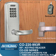 Exit Trim with Electronic Keypad Locks | Schlage CO-220-993R-KP - Exit Rim/Concealed Vertical Rod/Concealed Vertical Cable | Classroom Lockdown Solution
