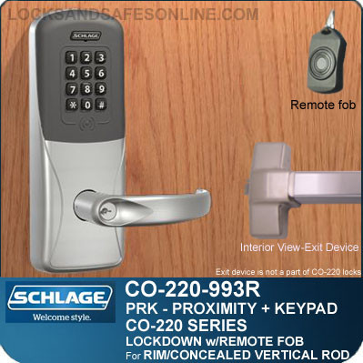 Exit Trim with Proximity & Keypad Reader| Schlage CO-220-993R-PRK - Exit Rim/Concealed Vertical Rod/Concealed Vertical Cable | Classroom Lockdown Solution