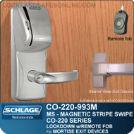 Schlage CO-220-993M-MS - Exit Mortise Lock | Exit Trim with Magnetic Stripe Swipe Reader | Classroom Lockdown Solution
