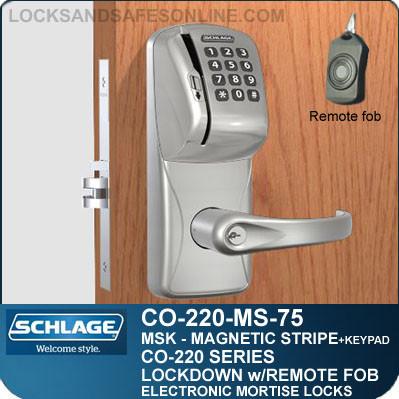 Mortise Magnetic Stripe Swipe & Keypad Locks | Schlage CO-220-MS-75-MSK | Classroom Lockdown Solution