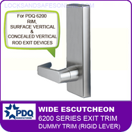PDQ 6200 Wide Escutcheon Dummy Trim (Rigid Lever) - For Rim, Surface Vertical and Concealed Vertical Rod Exit Devices