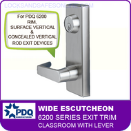 PDQ 6200 Wide Escutcheon Trim - Classroom with Lever - For Rim, Surface Vertical and Concealed Vertical Rod Exit Devices