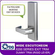 PDQ 6200 Wide Escutcheon Dummy Trim (Rigid Lever) - For Mortise Exit Devices