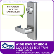 PDQ 6200 Wide Escutcheon Trim - Night Latch with Exit Device Cylinder Dogging - For Mortise Exit Devices