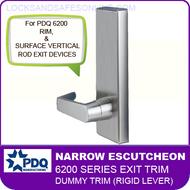 PDQ 6200 Narrow Escutcheon Dummy Trim (Rigid Lever) - For Rim and Surface Vertical Rod Exit Devices