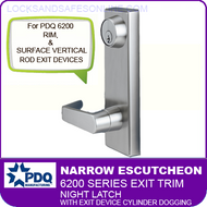 PDQ 6200 Narrow Escutcheon Trim - Night Latch with Exit Device Cylinder Dogging - For Rim and Surface Vertical Rod Exit Devices