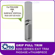 PDQ 6200 Grip Pull Trim - Passage with Thumbpiece - For Rim and Surface Vertical Rod Exit Devices
