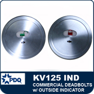 Commercial restroom deadbolts | PDQ KV125 IND with Outside deadbolt Indicator