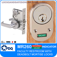 Faculty Restroom Mortise Lock with Deadbolt with Indicator | PDQ MR260