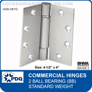 "PDQ Commercial Hinges | 2 Ball Bearing (4-1/2""x4"")"
