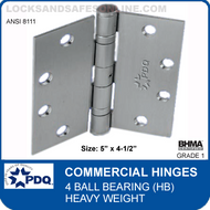 "PDQ Commercial Hinges | 8111 - 4 Ball Bearing (5""x4-1/2"")"