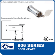PDQ 906 Series Door Viewer - 160 Degrees