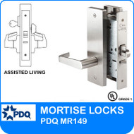Grade 1 Single Cylinder Assisted Living Mortise Locks | PDQ MR149 | F Series Escutcheon Trim