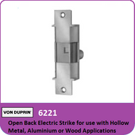 Von Duprin 6221 - Open Back Electric Strike for use with Hollow Metal, Aluminum or Wood Applications with Mortise or Cylindrical Locks