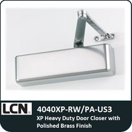 The new 4040XP-Rw/PA-US3 is LCN's most durable heavy duty closer designed for the most demanding, high use and abuse applications. Polished brass finish. Includes Parallel arm bracket.