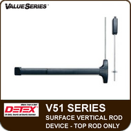 Detex V51 - Surface Vertical Rod Exit Device - Top Rod Only - For Hollow Metal and Wide Stile Doors