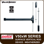 Detex V50xW - Weatherized Surface Vertical Rod Exit Device - For Hollow Metal and Wide Stile Doors