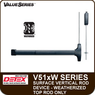 Detex V51xW - Weatherized Surface Vertical Rod Exit Device - Top Rod Only - For Hollow Metal and Wide Stile Doors