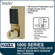 Simplex 1041-03 Mechanical Pushbutton Lock - Bright Brass - Key Override