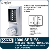 Simplex 1041-26D Mechanical Pushbutton Lock - Satin Chrome - Key Override