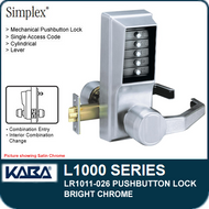 Simplex LR1011-026 - Mechanical Pushbutton Lock - Bright Chrome