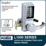 Simplex LR1011-03 - Mechanical Pushbutton Lock - Bright Brass