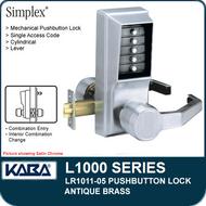 Simplex LR1011-05 - Mechanical Pushbutton Lock - Antique Brass