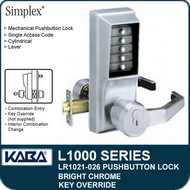 Simplex LR1021-026 - Mechanical Pushbutton Lock With Key Override - Bright Chrome