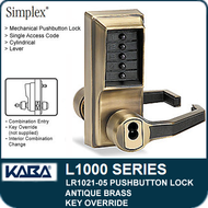 Simplex LR1021-05 - Mechanical Pushbutton Lock With Key Override - Antique Brass