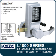 Simplex LR1031-03 - Mechanical Pushbutton Lock With Passage - Bright Brass