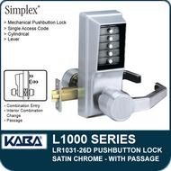 Simplex LR1031-26D - Mechanical Pushbutton Lock With Passage - Satin Chrome