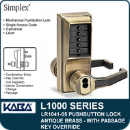 Simplex LR1041-05 - Mechanical Pushbutton Lock With Key Override and Passage - Antique Brass