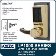 Simplex LLP1010-03 Mechanical Pushbutton Exit Trim Lock with Lever - Bright Brass