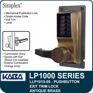 Simplex LLP1010-05 Mechanical Pushbutton Exit Trim Lock with Lever - Antique Brass