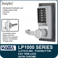Simplex LLP1010-26D Mechanical Pushbutton Exit Trim Lock with Lever - Satin Chrome