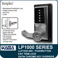 Simplex LLP1020-26D Mechanical Pushbutton Exit Trim Lock with Lever with Key Override - Satin Chrome