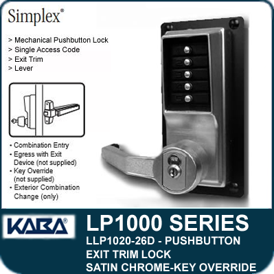 Simplex Llp1020 26d Mechanical Pushbutton Exit Trim