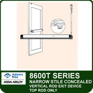 Adams Rite 8600T - Narrow Stile Concealed Vertical Rod Exit Device - Top Rod Only