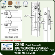 Adams Rite 2290 - Dual Force® Interconnected Deadbolt / Deadlatch for Wood or Hollow Metal Stile and Rail Doors - With ME Lever