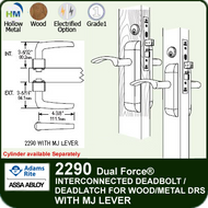 Adams Rite 2290 - Dual Force® Interconnected Deadbolt / Deadlatch for Wood or Hollow Metal Stile and Rail Doors - With MJ Lever