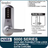 Simplex 5021-26D - Mechanical Pushbutton Cylindrical Lock - Satin Chrome