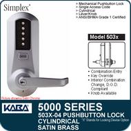 Simplex 5031-04 - Mechanical Pushbutton Cylindrical Lock - Satin Brass