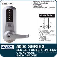Simplex 5041-26D - Mechanical Pushbutton Cylindrical Lock - Satin Chrome