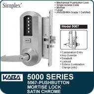Simplex 5067 - Mechanical Pushbutton Mortise Lock