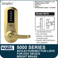 Simplex 5010-03 - Mechanical Pushbutton Lock - Bright Brass