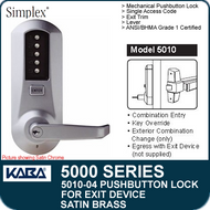 Simplex 5010-04 - Mechanical Pushbutton Exit Device Lock - Satin Brass