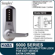 Simplex 5010-26D - Mechanical Pushbutton Exit Device Lock - Satin Chrome