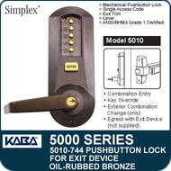 Simplex 5010-744 - Mechanical Pushbutton Exit Device Lock - Oil Rubbed Bronze with Brass Accents